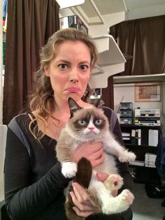 Gillian Jacobs and Grumpy Cat