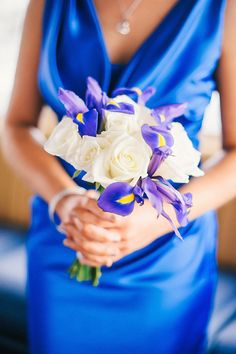 Iris and Roses Wedding Bouquet - Blue and White Downtown Tampa Waterfront Florida Destination Wedding - Tampa Wedding Photographer Angel He Photography - Marry Me Tampa Bay Wedding Blog