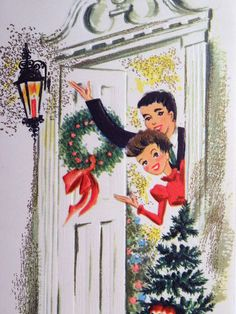 Couple at The Front Door Vintage Christmas Card