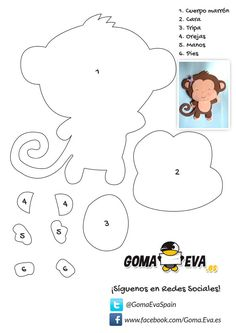Diy Manualidades Goma Eva New Ideas Felt Animal Patterns, Stuffed Animal Patterns, Stuffed Animals, Felt Crafts, Diy And Crafts, Motifs D'appliques, Felt Templates, Safari Party, Marianne Design