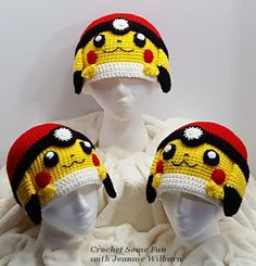 Pikachu Pokeball Inspired Hat by CrochetSomeFun on Etsy