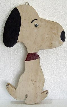 Vintage Folk Art Wood Cut Out Wooden Snoopy by VirtuallyVintageCT