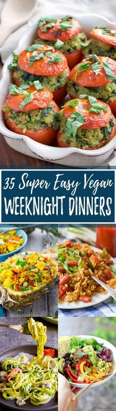 These 35 vegan dinners are perfect for busy days! All recipes are plant-based, super easy to make, and incredibly delicious. Most of these vegan meals are even super healthy! This roundup includes some of my favorite vegan recipes! So YUMMY!