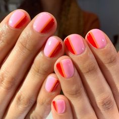 Nail Art Designs for Spring and Summer 2019 – Major Mag. Nail Art Designs for Spring and Summer 2019 – Major Mag. Cute Gel Nails, Pretty Nails, Red Nails, Red Orange Nails, Orange Nail Art, Pink Nail Art, Blue Nail, Orange Red, Nagel Stamping