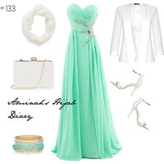 http://aminahshijabdiary.wordpress.com/ #hijab #muslimah #modestfashion #fashion #outfit #look #style #mystyle #eveninggown #prom #mint #white #ootd #ootn