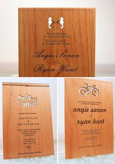 Laser Cut & Engraved Wood Wedding Invitations