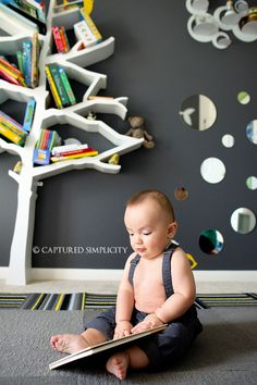 little boys room ideas tree bookshelf grey walls