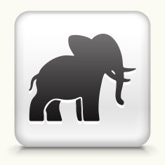 Square Button with Elephant royalty free vector art vector art illustration
