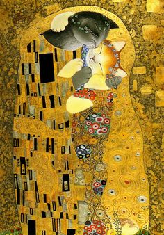 Anne Wischin's The Cat Kiss   Adapted from Gustav Klimt's The Kiss