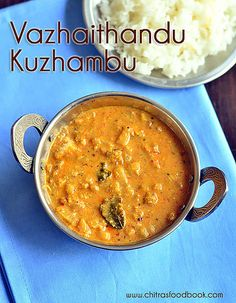 Vazhaithandu kuzhambu for rice - Banana stem gravy recipe South Indian Vegetarian Recipes, South Indian Food, Indian Food Recipes, Kulambu Recipe, Rasam Recipe, Veg Curry, Raw Banana, Kerala Food, Indian Dishes
