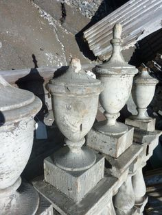 "Lot of Victorian Fence Post Newels w Large Finials C 1870 Vintage 41""H x 7"" Sq 