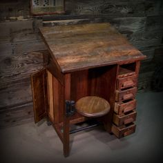 Antique Industrial Style Drafting Table w/ Swing Stool 5 Drawers Filing Cabinet FREE SHIPPING