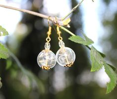 Earrings with Real Dandelion Seed inside, hand-blown glass beads, Hand-made jewelry, Wish, present for a bride, gift for bridesmaids, Nature