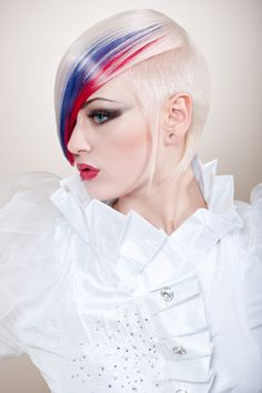 Gorgeous red, blue and blonde hair color and edgy haircut by Tindaro Orifici #hotonbeauty @hotonbeauty fb.com/hotbeautymagazine HOT Beauty Magazine