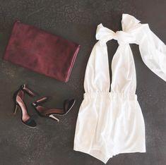 halter romper + ankle strap heels #nastygal