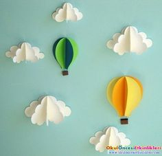 Hot Air Balloon Wall Decal, Paper Wall Art, Wall Decor, Wall Art by goshandgolly on Etsy Balloon Wall, Air Balloon, Balloons, Balloon Clouds, Balloon Party, Paper Wall Art, 3d Wall Art, Diy And Crafts, Crafts For Kids