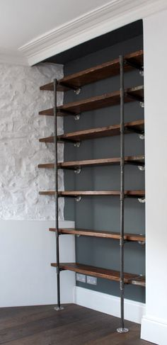 pipe shelving with reclaimed wood wooden shelves wall mounted bookshelves small shelves bookcases