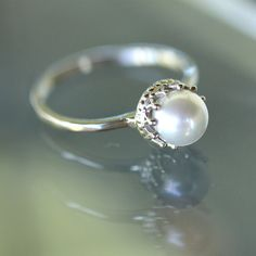 White Akoya Pearl 14K Gold Ring Stacking Ring by louisagallery, $225.00