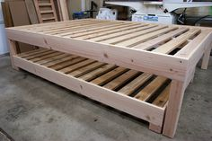Twin trundle bed frame - Trundle beds are a great way to provide extra sleeping space for guests in saving space because the bed designed to slide under Queen Trundle Bed, Trundle Bed Frame, Daybed With Trundle, Diy Bed Frame, Diy Queen Bed Frame, Bed Frames, Murphy-bett Ikea, Diy Bett, Modern Murphy Beds