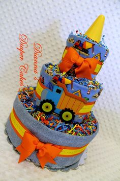 Construction Zone Baby Diaper Cake Shower Gift or Centerpiece by Dianna's Diaper Cakes www.diannasdiapercakes.com www.diannasdiapercakes.etsy.com