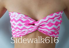 Hot Pink White Chevron Print Bandeau Top Spandex by Sidewalk616