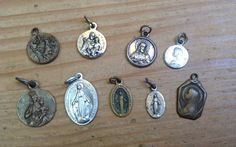 Vintage French  religious medal pendants Lot of 9 by karmolijntje