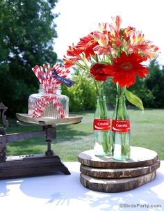 Summer BBQ Party Ideas Table Ceneterpiece with vintage-looking Coke bottles #ShareaCokeContest