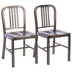 Vintage Metal Side Chairs (Set of 2)