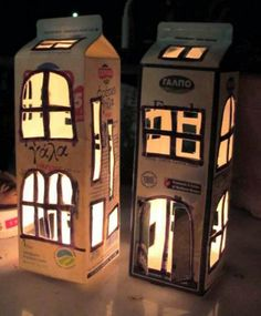 creative kids – milk carton lantern – Repainted by www. Kids Crafts, Diy And Crafts, Arts And Crafts, Paper Crafts, Craft Kids, Craft Projects, Milk Box, 1 Milk, Recycled Art