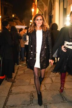 Olivia Palermo wears a white dress, a glitter shiny blazer jacket,. - - Olivia Palermo wears a white dress a glitter shiny blazer jacket outside Balmain during Paris Fashion Week Haute Couture Spring Summer 2020 on… Source by magicyvworld Olivia Palermo Outfit, Olivia Palermo Style, Olivia Palermo Lookbook, White Dress Winter, Winter Dresses, Winter White, Couture Mode, Couture Fashion, Paris Fashion