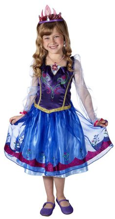 shell look enchanting in annas dress from the disney film frozen perfect for dress up play this anna costume has a satiny skirt with glittery flowers