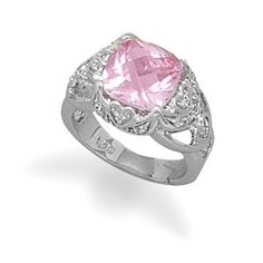 Synthetic Pink Sapphire and Clear CZ Sterling Silver