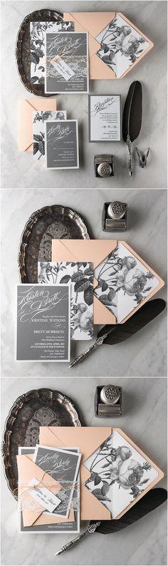 Rustic vintage lace grey and peach wedding invitations @4LOVEPolkaDots