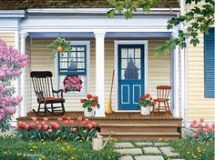 Entrance Staircase Designs to Beautify Homes and Improve Curb Appeal - Dekoration Ideen Country Art, Country Life, Country Scenes, Cozy Corner, Beautiful Dream, Naive Art, Staircase Design, Diy Painting, Curb Appeal