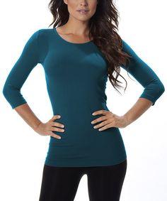 Loving this Peacock Blue Crewneck Top - Women on #zulily! #zulilyfinds
