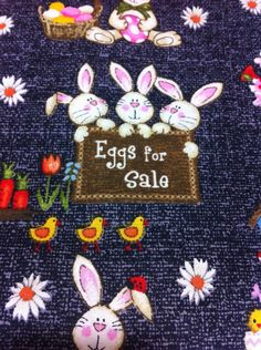 Eggs for Sales on Gray Cotton Fabric/Sewing craft supplies/Apparel Fabric/ Quilt 100% Cotton Fabric by the Yard sewing crafts craft supplies ExtremeProTeam home decor fabric place mates dailyetsysales Easter prints fabric easter bunny for all team cefp ptp team epsteam seteam ESASO team ae team spsteam team dat 9.75 USD #goriani