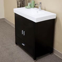 Annabelle 40 Inch Modern Bathroom Vanity Espresso Finish bathroom: pecan or hickory bathroom vanity cabinets with drawers