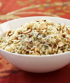 Bowl of Herbed Rice Pilaf with Sliced Almonds - StockFood Rice Recipes, Casserole Recipes, Pasta Recipes, Cooking Recipes, Healthy Recipes, Cilantro, Herbed Rice, Fresco, Gluten Free Thanksgiving