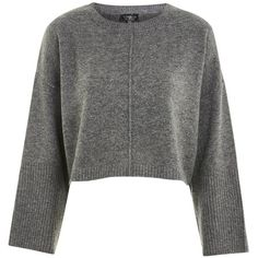 TopShop Wide Sleeve Sweater (180 BRL) ❤ liked on Polyvore featuring tops, sweaters, charcoal, sleeve sweater, topshop sweater, sleeve top, topshop jumpers and acrylic sweater