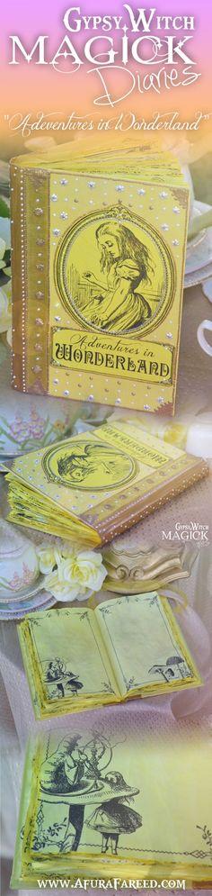 """Adventures in Wonderland"" handcrafted #Alice in #Wonderland #Book of #Shadows #journal by OddSoul Designs"