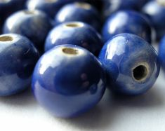 SALE Royal Blue Ceramic Beads  10-11 mm  Handmade by ceramberries