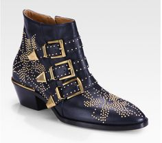 Chloe Susanna Studded Navy Leather Ankle Boots