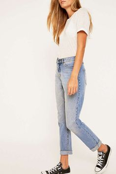 Slide View: 5: Cheap Monday Donna Mid Blue Straight Leg Jeans