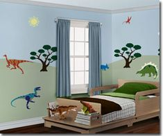 kids rooms easy decor | Stencil Wall Murals for easy childrens room decor