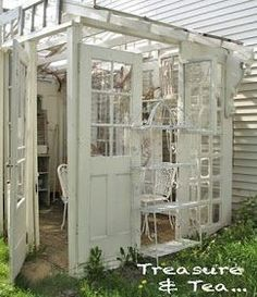 Outdoor Gazebo - built using salvaged windows and doors. This is perfect! You could add the old doors to an already existing metal gazebo frame. Outdoor Gazebos, Outdoor Rooms, Outdoor Living, Rustic Outdoor, Outdoor Structures, Jardin Style Shabby Chic, Casas Shabby Chic, Greenhouse Plans, Cheap Greenhouse