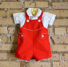 Child Size 12M Shirt and Overall Shorts Set by AttysSproutVintage