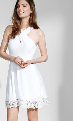 Crossover Halter Crocheted Hem Fit And Flare Dress | Express