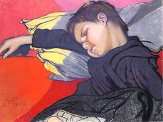 Stanisław Wyspiański - Sleeping Mietek With A Cable Knot Pastel Drawing, Pastel Art, Painter Artist, Artist Painting, Love Painting, Painting For Kids, Children Painting, Artist Gallery, Portraits