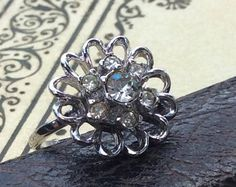 Vintage Sterling Silver and Simulated Diamond Cluster Cocktail