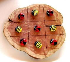 70+ Inspiring DIY Painted Rocks Ideas - Page 55 of 71 Lady Bug Painted Rocks, Painted Garden Rocks, Painted Rocks Kids, Painted Stones, Pebble Painting, Pebble Art, Stone Painting, Diy Painting, Tic Tac Toe